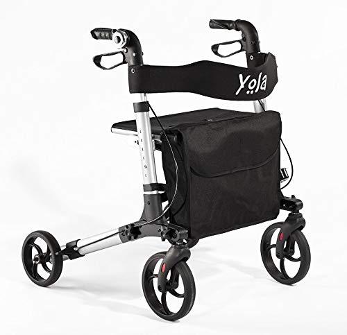 """Timago Rollator Yola 8"""" Räder B64 x T69 x H79,5-92,5 cm, Einkaufstausche, höhenverstellbare Griffe, Sitz mit Rückenlehne, faltbares Aluminiumgestell, Gewicht 7,6 kg, max. Belastung 130 kg"""