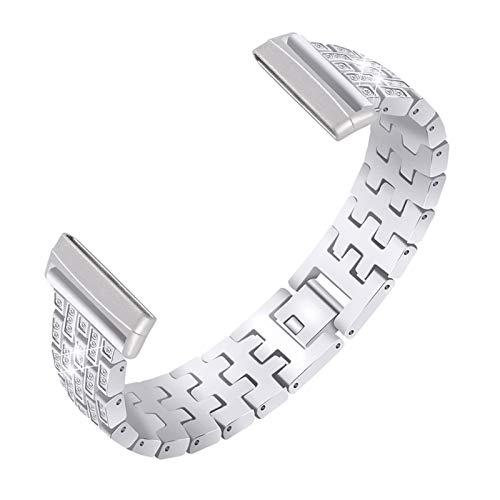 Correas De Repuesto Compatible con Versa 3 / Sense, Strap De Diamantes De Imitación Acero Inoxidable Glitter Link Pulsera De Metal Relojes Band Joyas Compatible con Sense/Versa 3,Plata