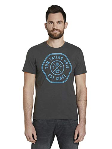 TOM TAILOR Herren Slub Melange T-Shirt, Grau ( 10899 )  , XXL