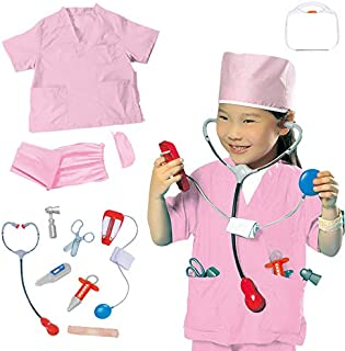 Yalla Baby 9PCS Kids Nurse Costume for Kids Girls Role Play Set Dress Up Hospital Costumes Set - Gift Idea (3-8 Years, 80-...