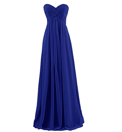 GlorySunshine Strapless Sweetheart Chiffon Bridesmaid Dresses Long Evening Gowns (L, Royal Blue)