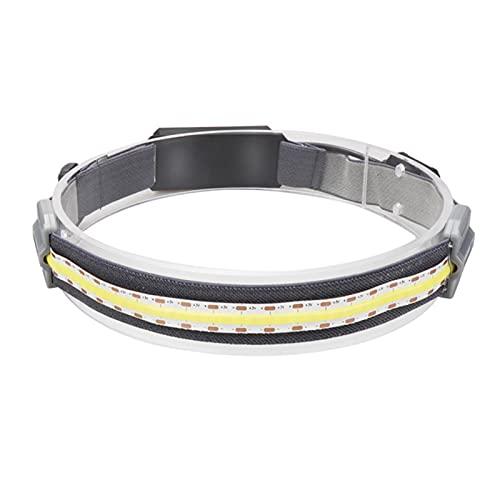 WINFCOY Linterna Frontal COB, Recargable por USB, 3 Modos, Linterna LED, Linterna de Diadema elástica Impermeable con iluminación de 210 °, para Acampar, Correr, Andar en Bicicleta