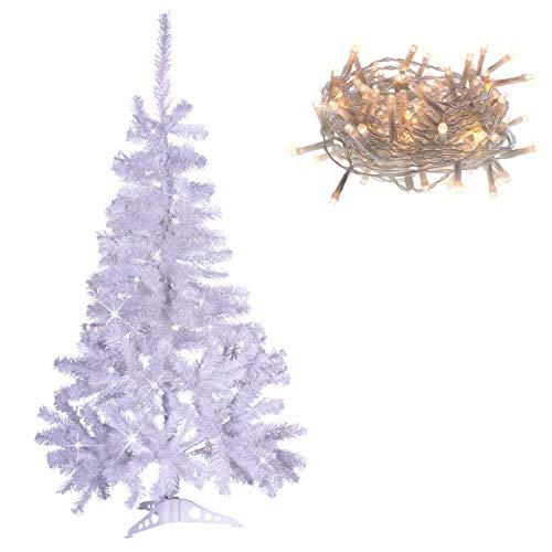 künstlicher Weihnachtsbaum weiß mit Glitzereffekt Christbaum Tannenbaum 120 cm mit Ständer zzgl. 100 LED Lichterkette warmweiß Weihnachtsdeko
