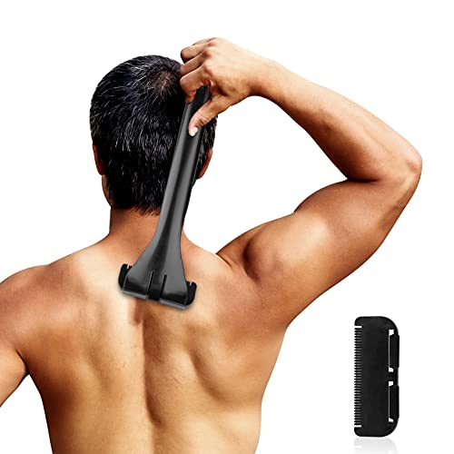 Rückenrasierer Herren, AZ GOGO Körperrasierer mit 1 Ersatzklinge, Faltbare Rücken-Rasierapparate Rasierer Herren, Herrenrasierer mit Hautschutz,Effektive Rückenrasur für Männer,Trocken- und Nassrasur