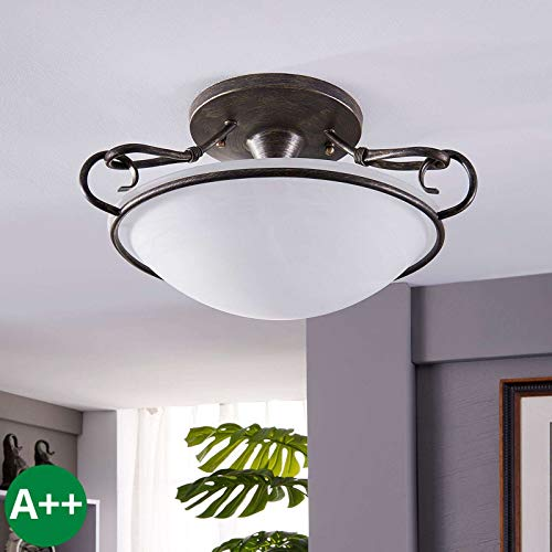 Lindby Deckenlampe \'Rando\' dimmbar (Landhaus, Vintage, Rustikal) in Braun aus Metall u.a. für Wohnzimmer & Esszimmer (3 flammig, E27, A++) - Deckenleuchte, Lampe, Wohnzimmerlampe