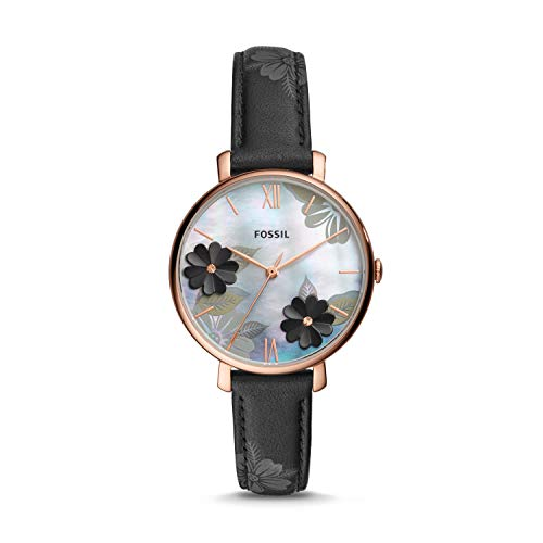 Fossil Damen Analog Quarz Uhr mit Leder Armband ES4535