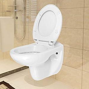 Tidyard WC de Inodoro Compacto adosado a la Pared con Cierre Suave cerámica Blanco