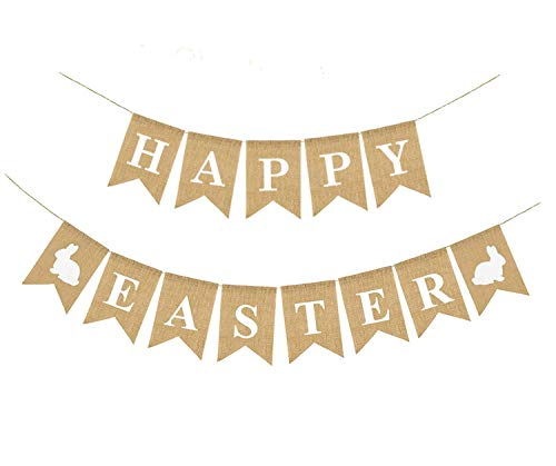 HAPPY EASTER Banner Flags, Easter Bunting Burlap Banner Garland with White Rabbit Bunny & Easter Sign for Easter Decoration and Party Photo Props Spring Décor