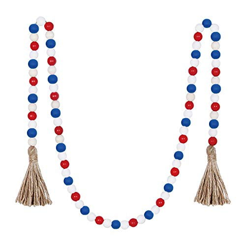 AC1 Home Decor Colour Hanging Pendant Decorations Wood Bead Garland Tassels String