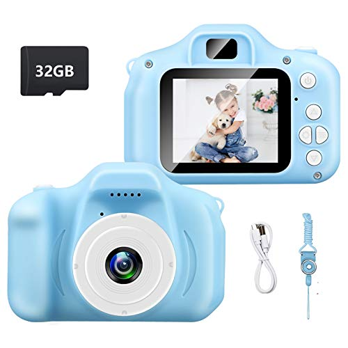synmixx Kids Camera -Digital Rechargeable 1080P HD 12MP with 2 Inch LCD Display Camera,Best Birthday Gifts for Boys and Girls Age 3 - 9 with 32GB Micro Memory Card-Blue