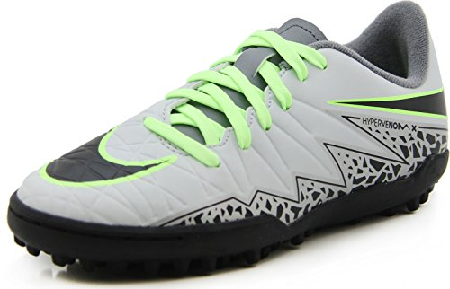 Nike JR Hypervenom Phelon II TF, Botas de fútbol Unisex Adulto, Plateado (Pure Platinum/Black-Ghost Green), 38 1/2