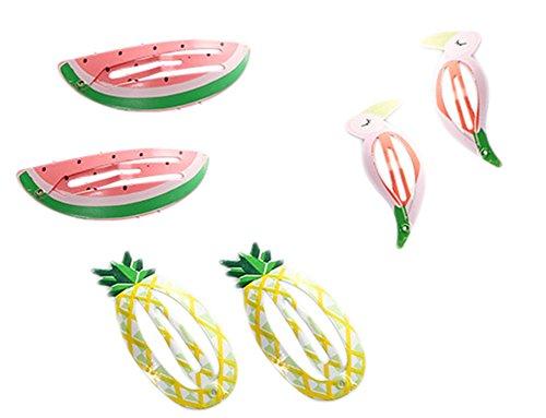 Hacoly 6 Pcs Belle Bande Dessinée Pince à Cheveux Clips Métal Fruits Animaux Épingle à Cheveux Barrettes Cheveux Accessoires pour Enfants Bébé Filles - Ananas/Pastèque/Flamant