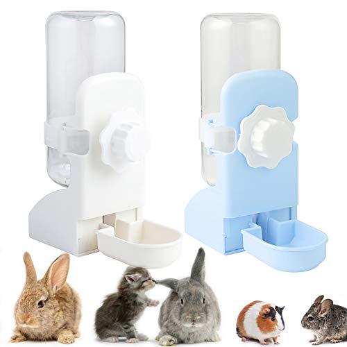 LeerKing Rabbit Water Bottle Cage Dispenser Waterer Pets Crate Drinker for Bunny Ferret Guinea Pig Hamsters Small Animal,White