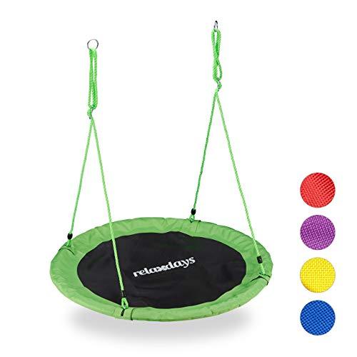 Relaxdays Unisex– Erwachsene, grün Nestschaukel, Outdoor Schaukel für Kinder & Erwachsene, Ø 110 cm, bis 100 kg, rund, Tellerschaukel, H x D: ca. 5 x 110 cm