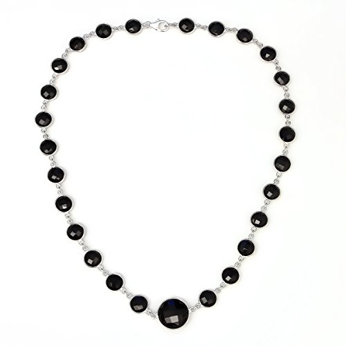 Gem Stone King 45.00 Ct Sterling Silver Black Onyx 8mm Round & 14mm Center Stone Necklace