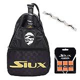 Bandolera Siux + Overgrip + Protector Transparente/para Hombre y Mujer/Transporta Tus Palas de Padel de Forma Comoda y Segura/para Nivel intermedio avanzado y Principiante (Oro)