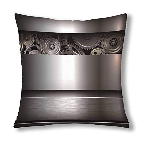 BEDKKJY Cool achtergrond metallic met technologie tandwielen kussenhoes beschermer kussensloop met rits 18x18 inch, decoratieve kussensloop huisdecoratie