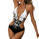 Cooljun Damenbadeanzüge Tummy Control Swimwear Abnehmen Monokini-Badeanzüge Frauen Lace Up Printed Padded Push-Up Einteiliger Bikini-Badeanzug