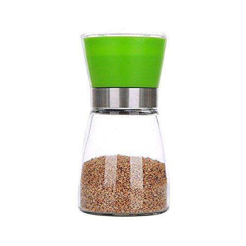 lzndeal Salt Pepper Mill Grinder Glass Shaker Spice Container Condiment Jar Holder Grinding Bottle Kitchen Tools