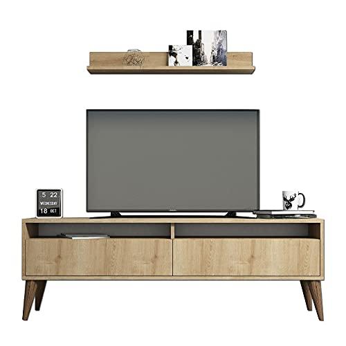 Tv Lowboard Ständer Fernsehschrank Fernsehtisch mit 2 Innenregale 2 Schrankfächer und 1 Holzregal   Sideboard Kommode...