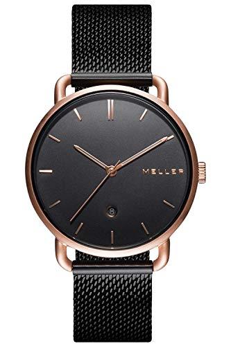 Meller Unisex Erwachsene Analog Quarz Uhr mit Edelstahl Armband W3R-2BLACK