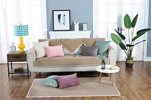 XCVBSolid Kleur Sofa Cover Bank Honden Huisdieren Single/Two/Three Seater 21 Maten Wasbaar Verwijderbare Handdoek Armsteun Couch Covers Kussenovertrekken, Koffie