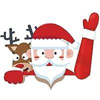 Jaimenalin クリスマスサンタとトナカイの手を振るワイパーのデカール、後部窓用3D漫画お祭りの車のステッカー、車両後部ワイパーのクリスマス飾り