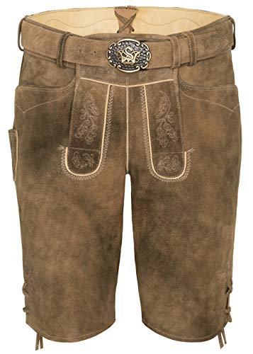 Spieth&Wensky Olrik - Pantalones de piel para hombre con cinturón Biber/St 134-d Sand 48