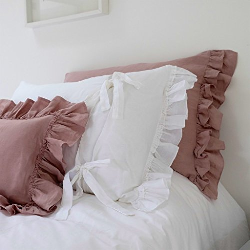 Linen Pillowcase, Ruffled Pillowcase, Linen Bedding. Double Short Side ruffle with tie back. Pair. Shabby Chic!