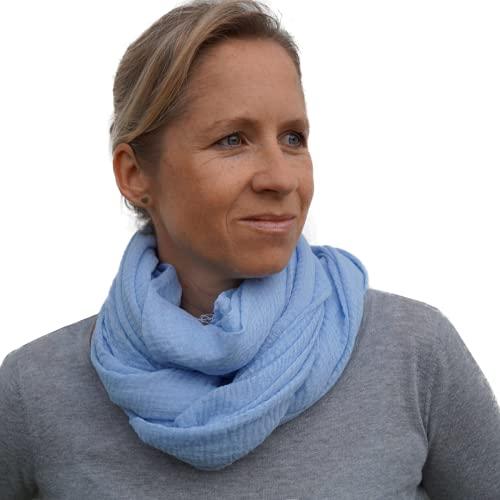 Herzlein® Musselin Tuch für Damen in Hellblau. Dieser hochwertige Schal aus Baumwolle macht dir garantiert jeden Tag gute Laune
