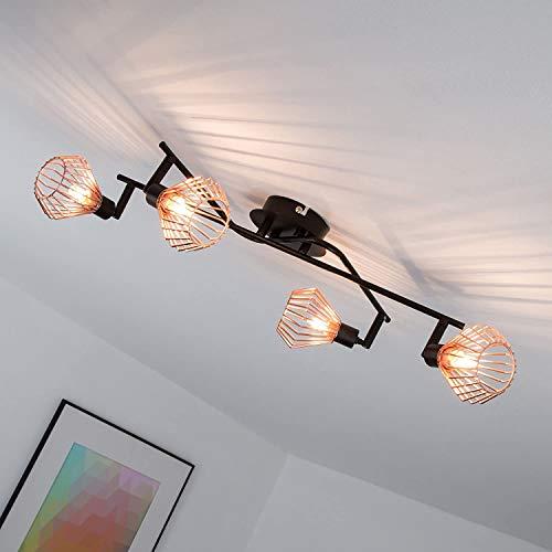Lámpara de techo en diseño retro con tapa de rejilla de cobre, 4x G9 max. 33W, metal, negro / cobre