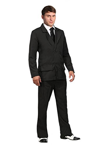 Deluxe Pin Stripe Gangster Costume Suit 1920s Gangster Costume Men Small Black