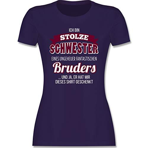 Schwester & Tante - Ich Bin stolze Schwester - L - Lila - Schwestern t - L191 - Tailliertes Tshirt für Damen und Frauen T-Shirt