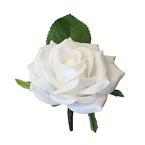 Angel Isabella Large Boutonniere – Live-Feel Real Touch White Keep Sake Boutonniere.Pin Included … Silk Flower Arrangements