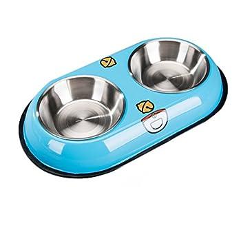 Chiens Gamelles et distributeurs Bols Doubles de Chien - l'eau d'animal familier d'acier Inoxydable et Le conducteur de Nourriture avec antidérapant Chiens Gamelles (Color : Blue)
