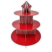 サーカスカップケーキスタンド&ピックキット、カーニバルパーティー用品、大きなトップデコレーション、誕生日、ケーキデコレーション、子供の誕生日、3段の段ボール。