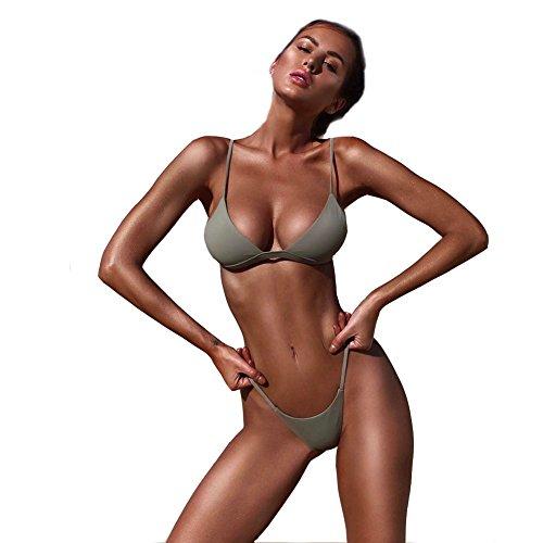 CHIYEEE Donne Push-up Reggiseno Imbottito Spiaggia Bikini Set Costume da Bagno Estate Costume da Bagno Spingere Verso l'Alto Costumi da Bagno Verde S