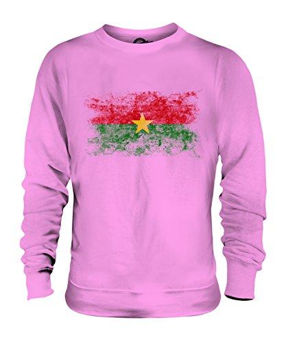 Candymix Burkina Faso Drapeau Délavé Unisexe Sweat-Shirt Homme Femme, Taille 2X-Large, Couleur Rose