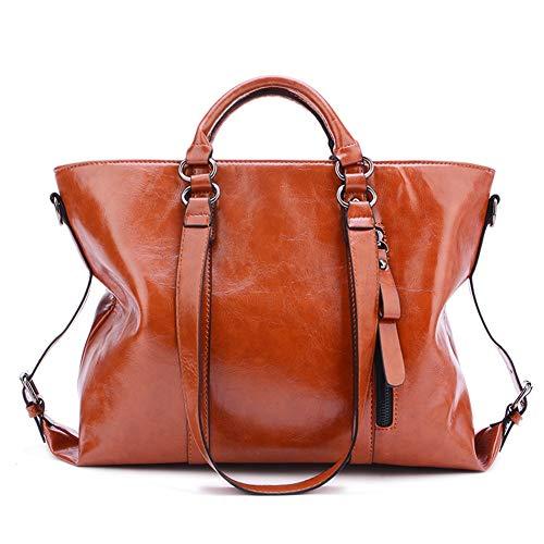 Bolsos de Las Mujeres, Popoti Bolsos de Hombro de Cuero Bolso de Mensajero Messenger Crossbody Bag, Nuevos Bolsillos de Compras Elegantes de la Señora (Marrón)
