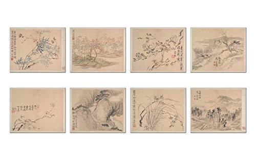 Wish Pub - Juego de 8 Impresiones de Arte Fino por Famous Chinese Painter Wang Shishen, sin Marco