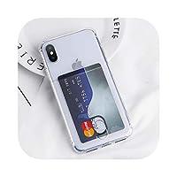 Seggw TPUカードスロットホルダーiPhone用電話クリアケースXXR XSMaxクリアシリコン透明ソフトカバーiPhone6 6S 8 7 Plus Capa-Gold-for iphone XR