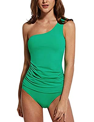 BALEAF Women's One Shoulder Tankini Set Slimming Padded Two Piece Swimsuits with Adjustable Strap Green 42