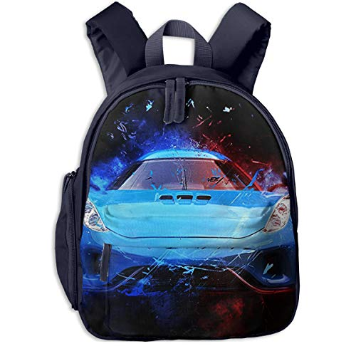 Kinderrucksack Ehrfürchtiger Blauer Sportwagen, Schulrucksack für Mädchen und Jungen Schultasche Schulranzen Teenager Backpack Daypack Freizeitrucksack Kinder Rucksack