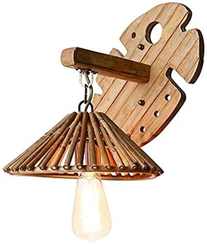 XQMY Lámpara de Pared Simple y Fresca Lámpara de bambú Antigua del sudeste asiático Granja Restaurante Restaurante Lámpara de bambú de Forma Simple E27 Iluminación de Pared Interior Terny de Pared de