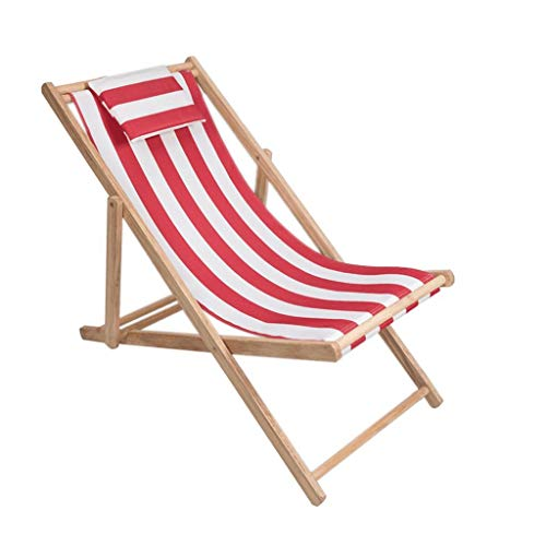 Barir Strandstuhl Klappstuhl Massivholzstuhl Oxford Leinwand Stuhl Sessel, ergonomisches Design Kissen Design, Outdoor tragbare Mittagspause nach Hause Balkonstuhl (Color : Red)