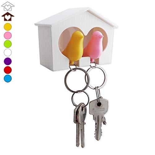 Cabanon Range-clés avec 2 Porte-clés Couple Oiseaux d'inséparables cabane Marron