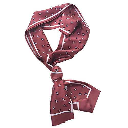 XINDUO Bufanda Cuadrado pequeño protección de Cuello de Verano para,Bufanda Larga Estampada de Raso-Rojo Vino_14 * 145,Nueva de Seda Bufanda Cuadrada pequeña