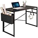"JSB Folding Computer Desk with Storage Bag and Hook, Writing Desk Modern Industrial Work Table Laptop Desk for Home Office (39.37"" x 19.69"" x 29.53"", Black)"