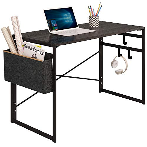 "JSB Folding Computer Desk with Storage Bag and Hook, Writing Desk Modern Industrial Work Table Laptop Desk for Home Office (39.37"" x 19.69"" x 29.53"", Black)"