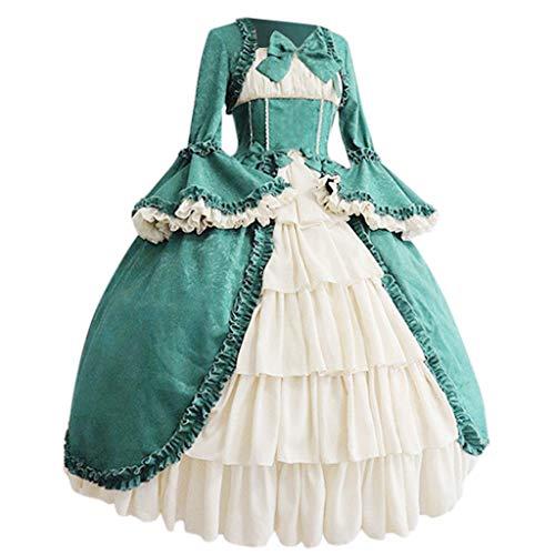 Writtian Karneval Fasching Damen Mittelalterliche Kleid mit Trompetenärmel Mittelalter Party Kostüm Cosplay Gothic Retro Kleid Party Kostüm Viktorianischen Königin Kleider Kleidung Partykleider